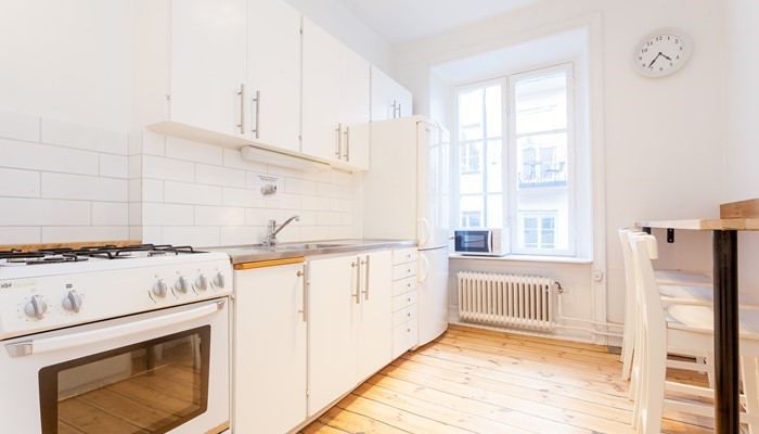apartment hotel stockholm city center: small one bedroom apartment - kitchen