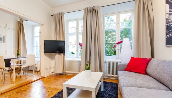 Serviced Apartments Aparthotel Stockholm Studio With Sofa Bed Living Room