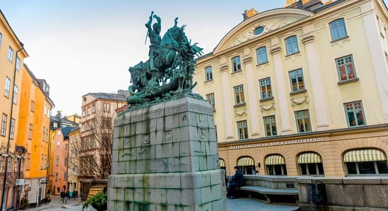 The statue of St. George and the Dragon in old town of Stockholm